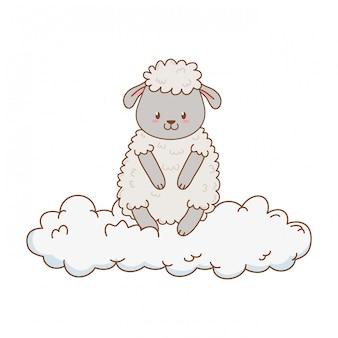 雲の中のかわいい羊