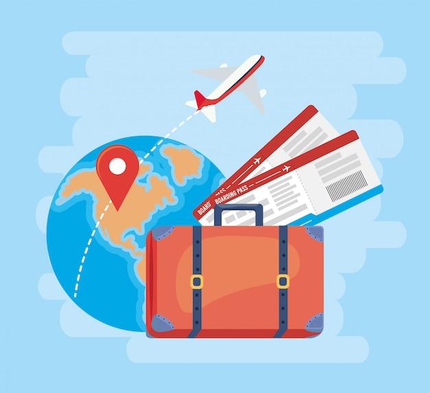 Глобальная карта с указателями местоположения и самолетом