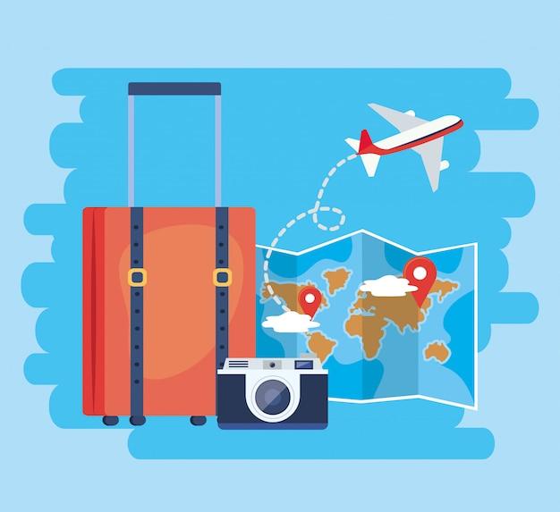 Глобальная карта с указанием места и багажа