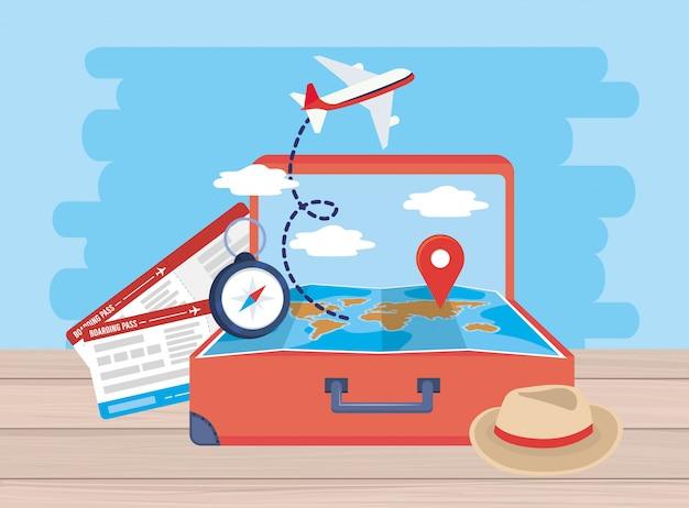 飛行機内のチケットと手荷物の中のグローバルマップの場所