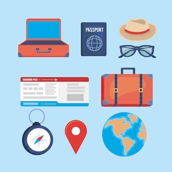旅行先の日記と場所の冒険のセット
