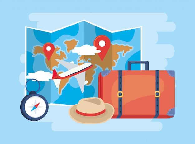 飛行機と手荷物を使った地球地図の位置