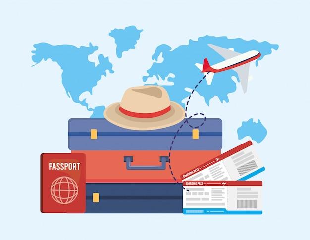 パスポート付き旅行手荷物および飛行機付きチケット