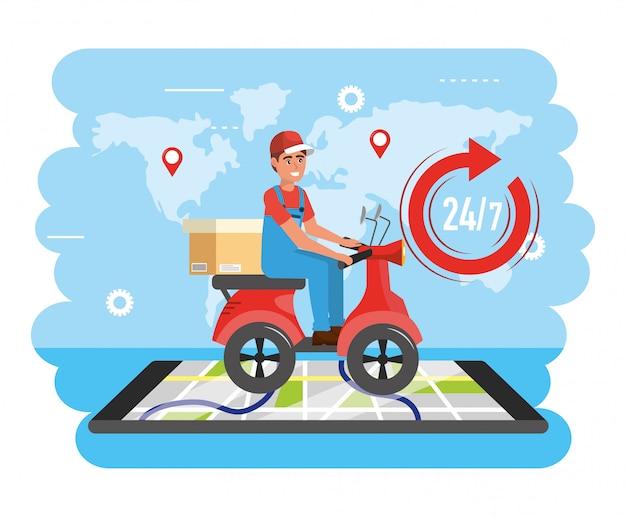 ボックスとスマートフォンの地図の場所と配達人サービス
