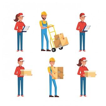 配達人とボックスの配達サービスを持つ女性のセット
