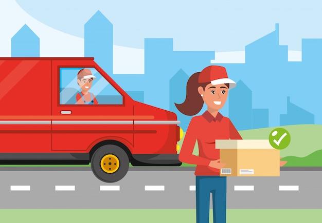 パッケージとバンの輸送の男と配達の女性