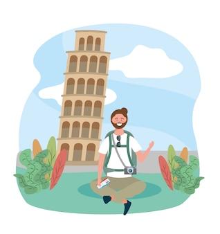 Путешествия человек сидит с рюкзаком и пизанская башня назначения