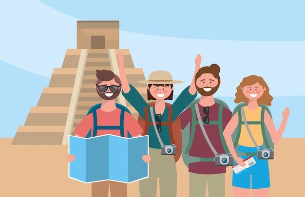 バックパックとグローバルマップを持つ女性と男性の友達