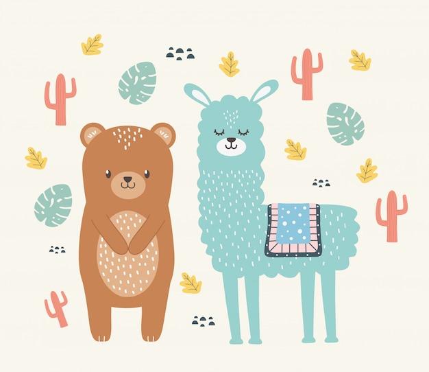 Медведь и лама мультяшный дизайн векторная иллюстрация