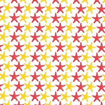 Морские звезды ракушки животные узор фона