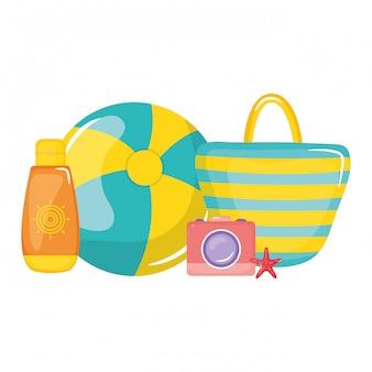 Сумочка женская с шариком пластиковая игрушка и фотоаппарат