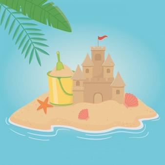 ビーチ要素のデザインと夏と休暇のイラスト