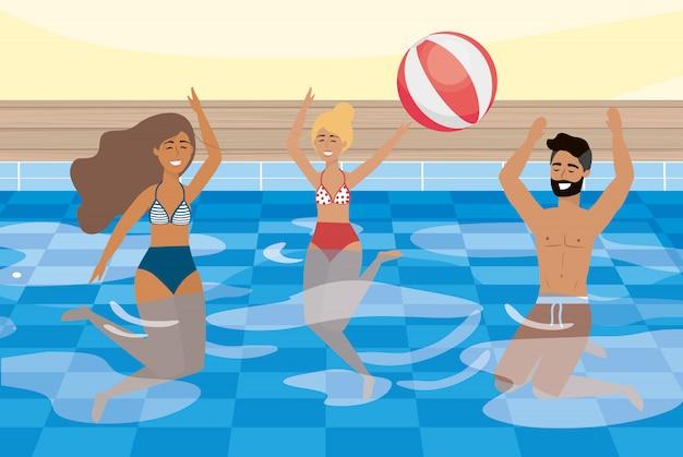 プールで日光浴をしている女性