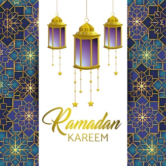 Рамадан карим и открытка с лампами и звездами