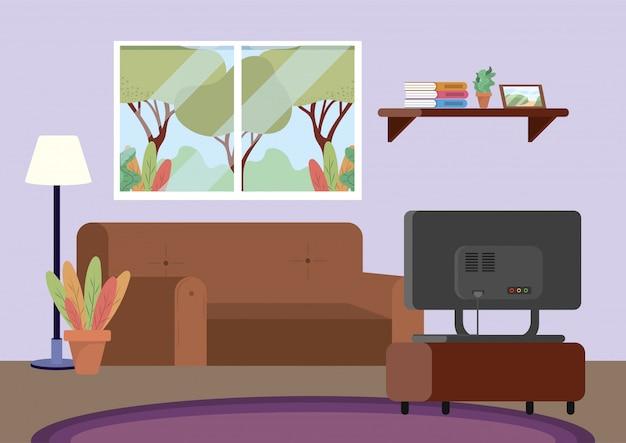ソファとテレビの装飾が施されたダイビングルーム