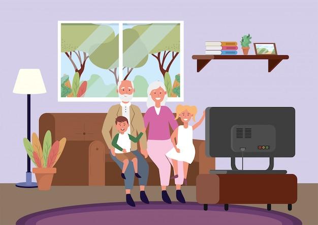 Старушка и мужчина с детьми на диване