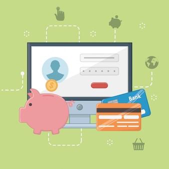 支払いオンラインアイコンセットデザイン