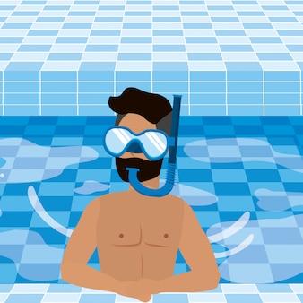 夏の水着を持つ少年