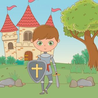 孤立した中世の騎士