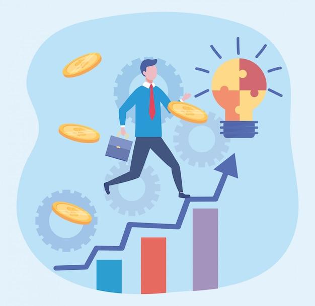 ビジネスマンのパズル電球のアイデアとコイン