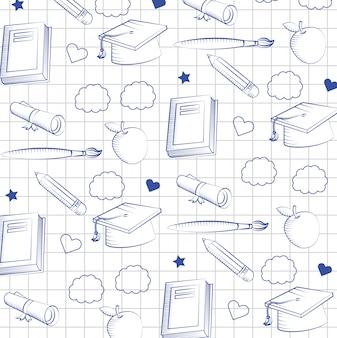 本と鉛筆の絵筆の背景を持つ概要卒業キャップ