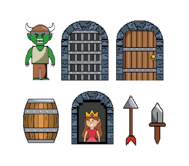 ピクセル化されたビデオゲームシーンのセット