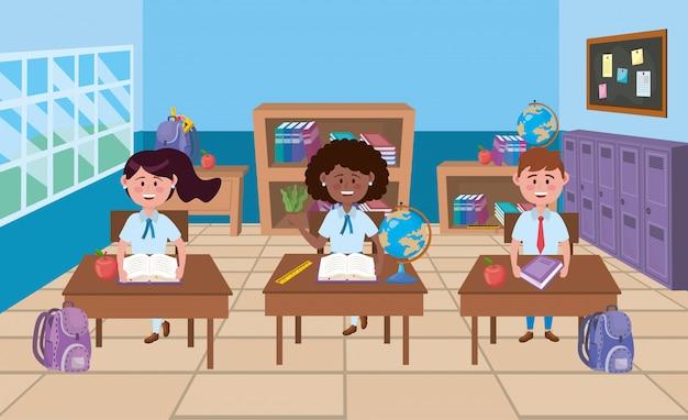 学校の教室で男の子と女の子