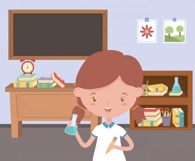 教室の学校で女の子の子供