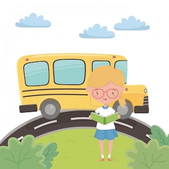 スクールバスと女の子