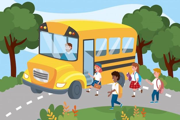 バックパックと女の子と男の子の学生とスクールバス