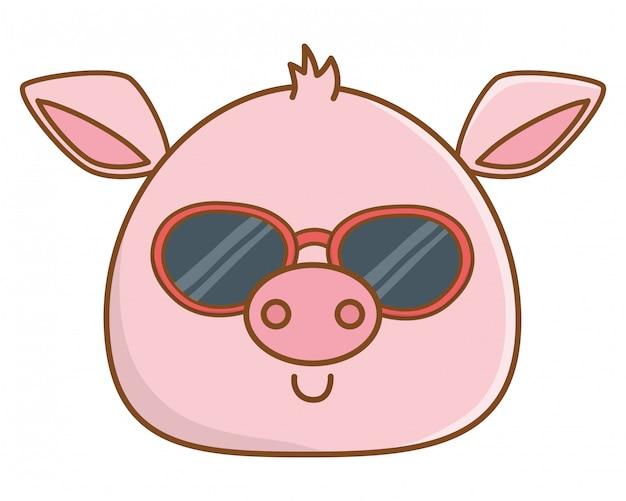 Милый мультфильм лица животных