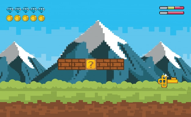 Аркадный игровой мир и пиксельная сцена