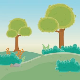 木のある森