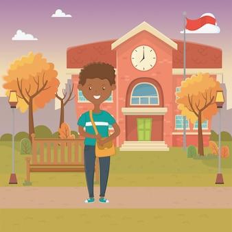 Мальчик мультфильм школьного дизайна