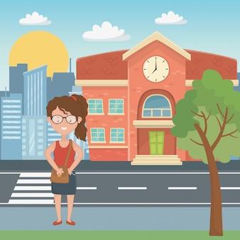 Девушка мультфильм школьного дизайна