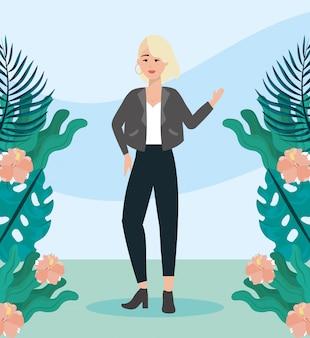 Девушка с блузкой и курткой с брюками повседневной одежды