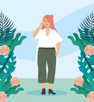 Девушка с блузкой и брюками повседневной одежды
