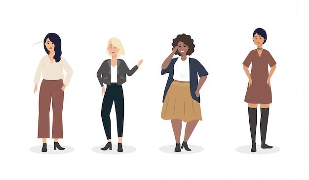 Набор девушек с современной повседневной одеждой