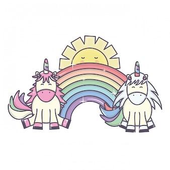 Милые очаровательные единороги и радуга