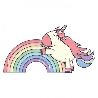 Милый очаровательный единорог и радуга