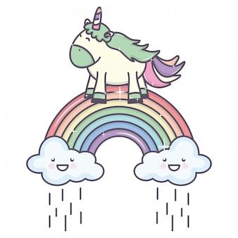 Милый очаровательный единорог с дождливыми облаками и радугой