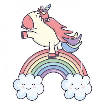雲と虹のかわいい愛らしいユニコーン