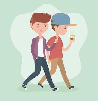 コーヒーカップのアバターのキャラクターと一緒に歩いている若い男性