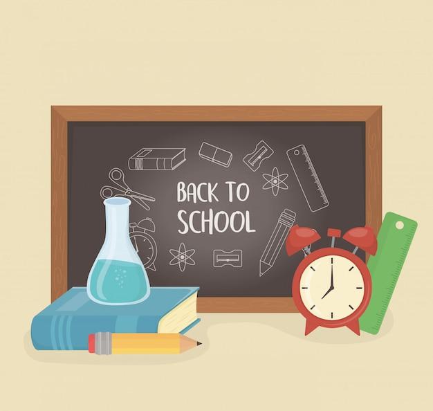 黒板と学校に戻る物資