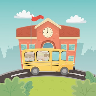 校舎とシーンで子供たちとバス
