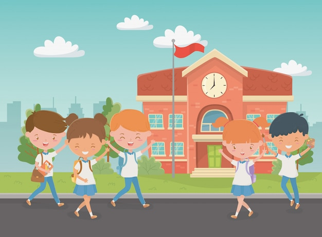 Здание школы с детьми на сцене