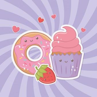 Вкусный и сладкий пончик и продукты каваи-персонажей