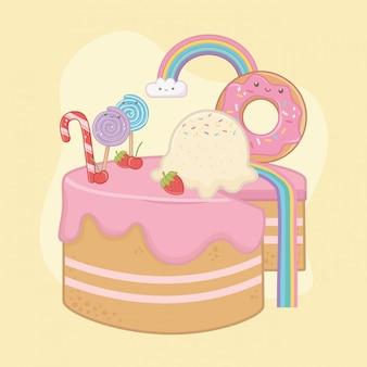 かわいいキャラクターとストロベリークリームの甘いケーキ