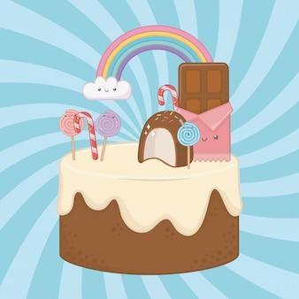 かわいいキャラクターとチョコレートクリームの甘いケーキ