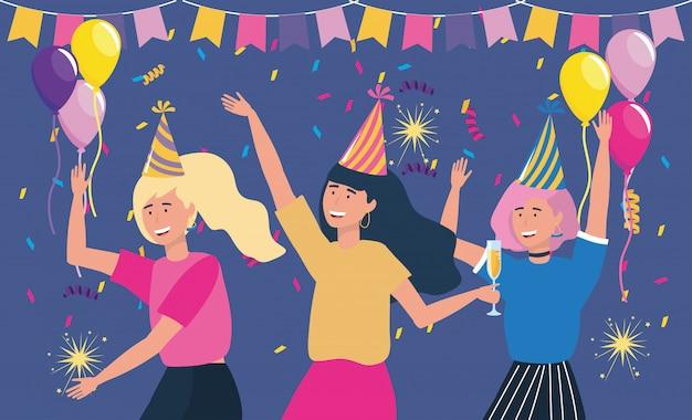 風船とパーティーで帽子を持つ女性